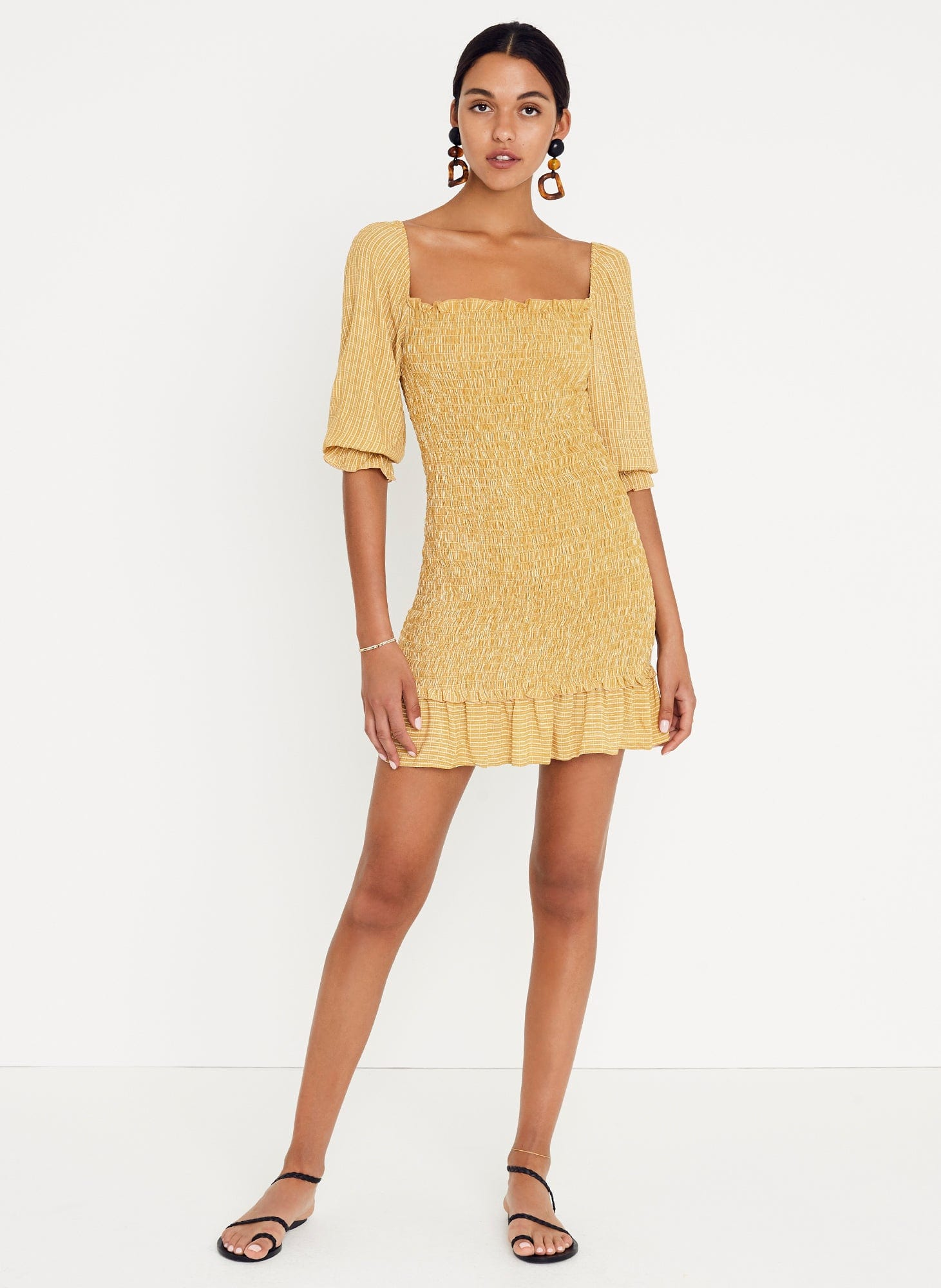 Ceretti Check Print - Desert - Es Saada Mini Dress
