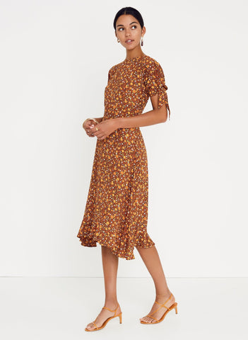 NICASIA FLORAL PRINT - CHOCOLATE - EMILIA MIDI DRESS
