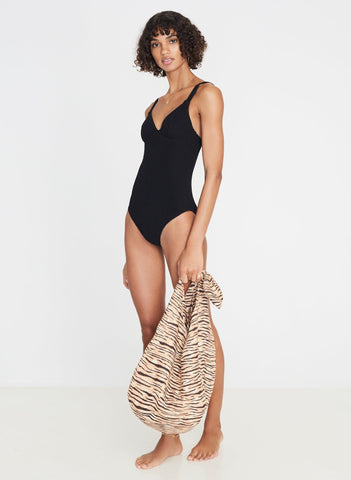 Bettina One Piece Plain Black Ribbing