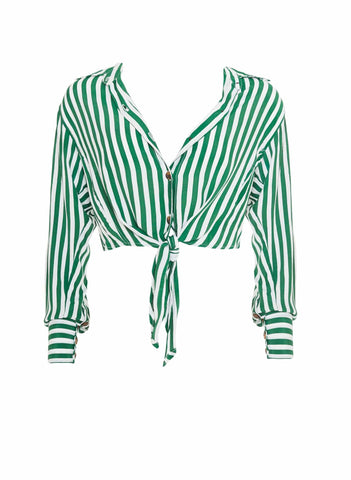 ZEUS STRIPE PRINT - GREEN - BEAU RIVAGE SHIRT - FINAL SALE