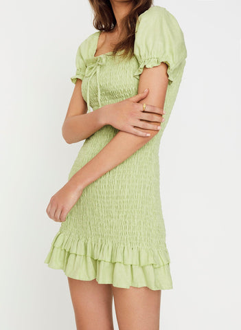 PLAIN WASHED LIME - CETTE MINI DRESS