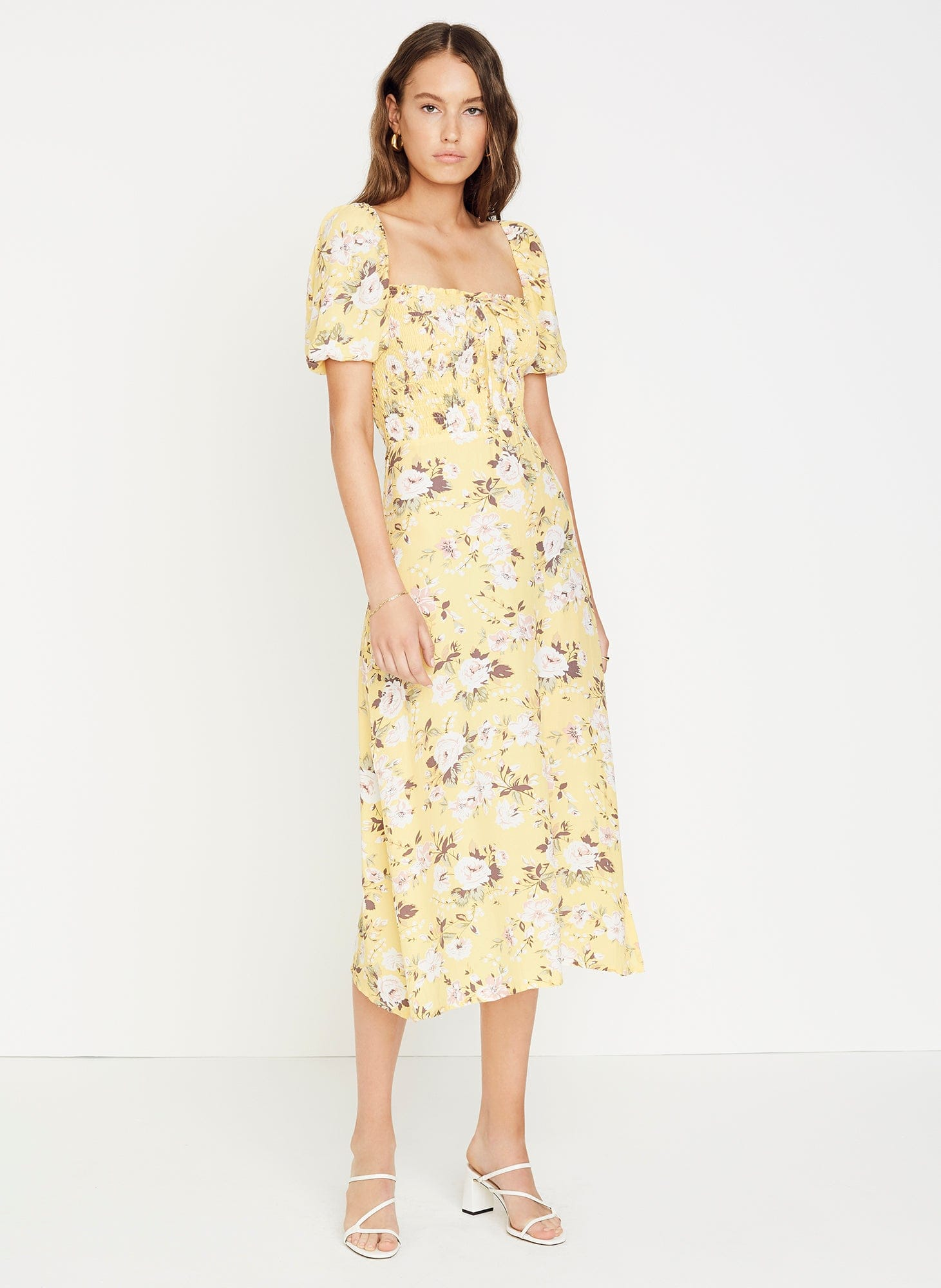 POMELINE FLORAL PRINT - JASMIN YELLOW - MAJORELLE MIDI DRESS