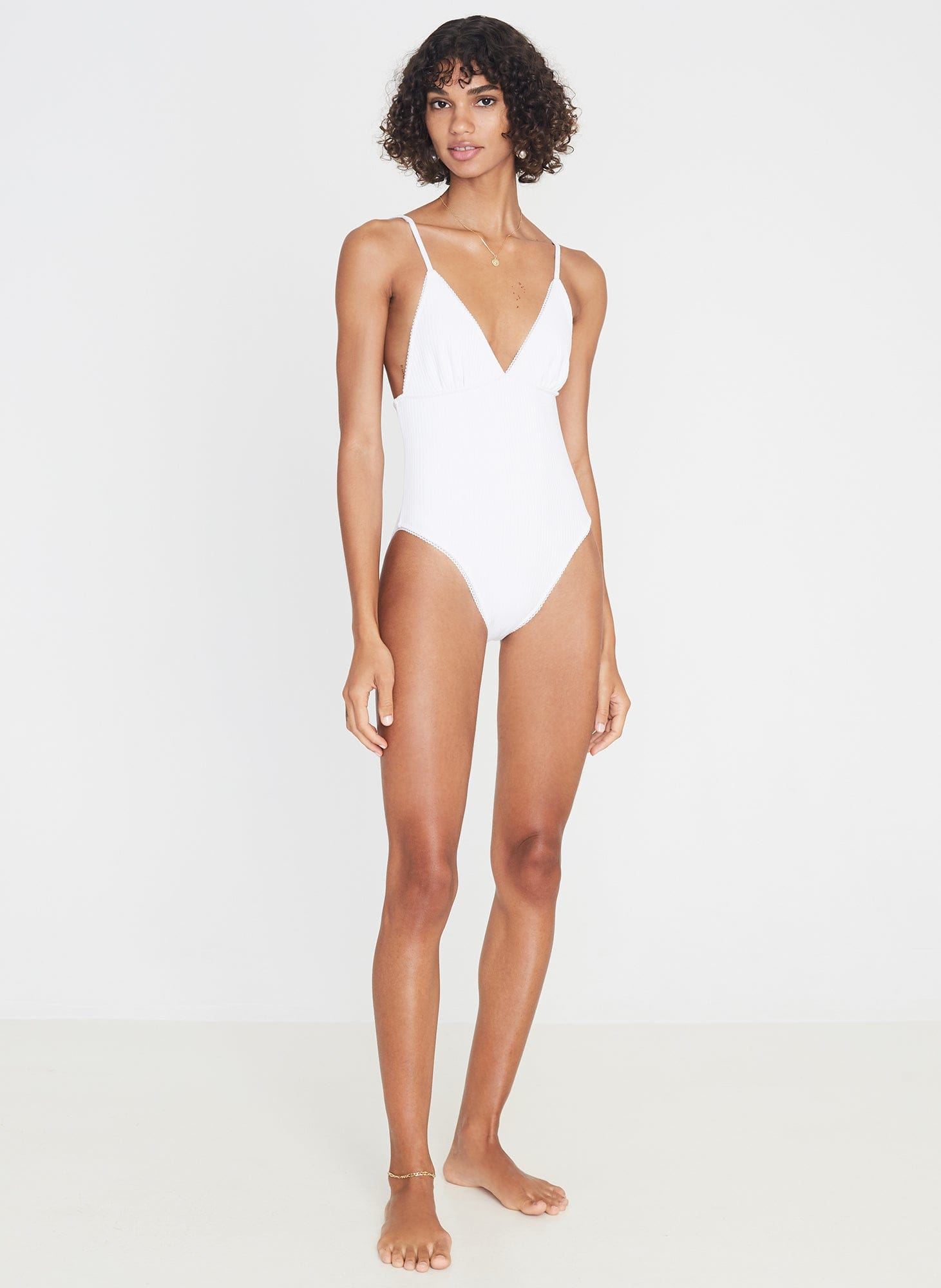 Violette One Piece Plain White Ribbing