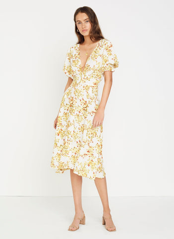 GOLDIE FLORAL - OFF WHITE - RAFA MIDI DRESS