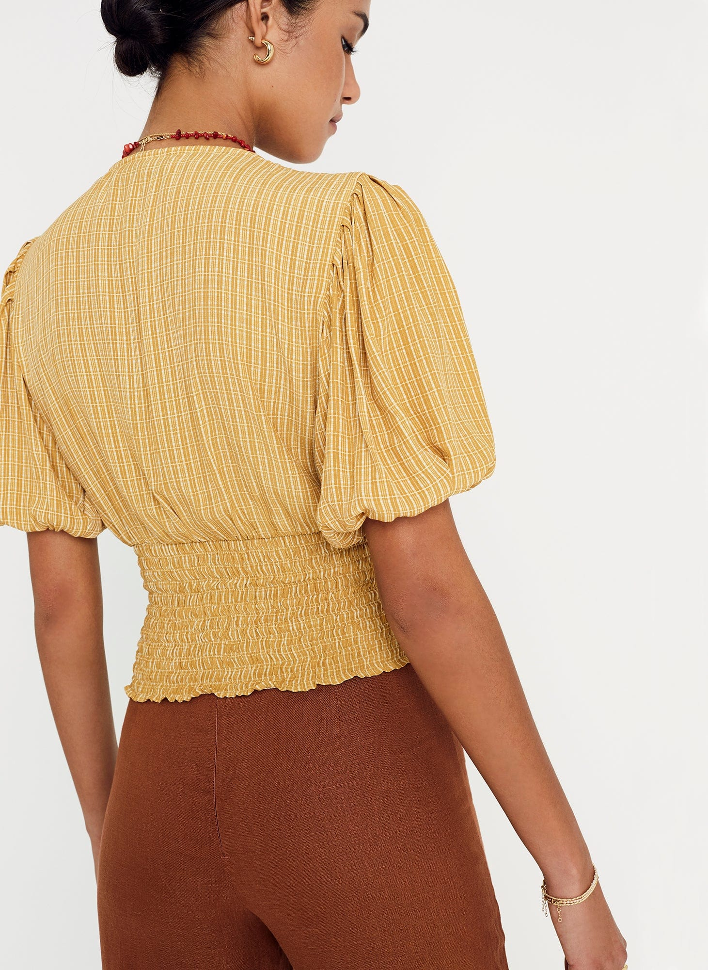 Ceretti Check Print - Desert - Oma Top