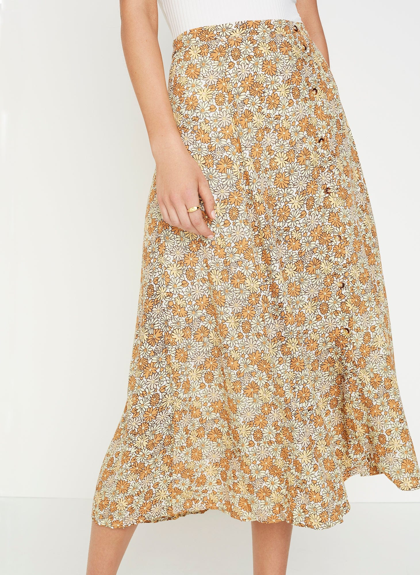 8febd37b7a ZOELLA FLORAL PRINT - PEACH - LE JEAN SKIRT | FAITHFULL THE BRAND |  INTERNATIONAL .