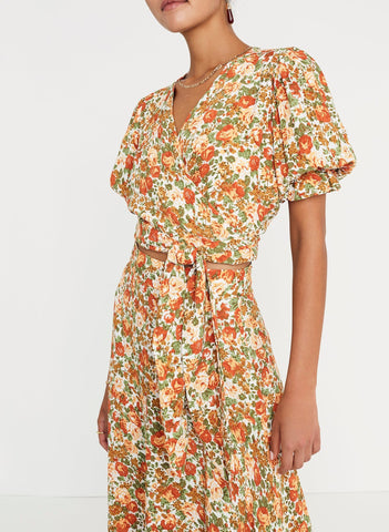 Le Rose Floral Print - Mali Wrap Top - Final Sale