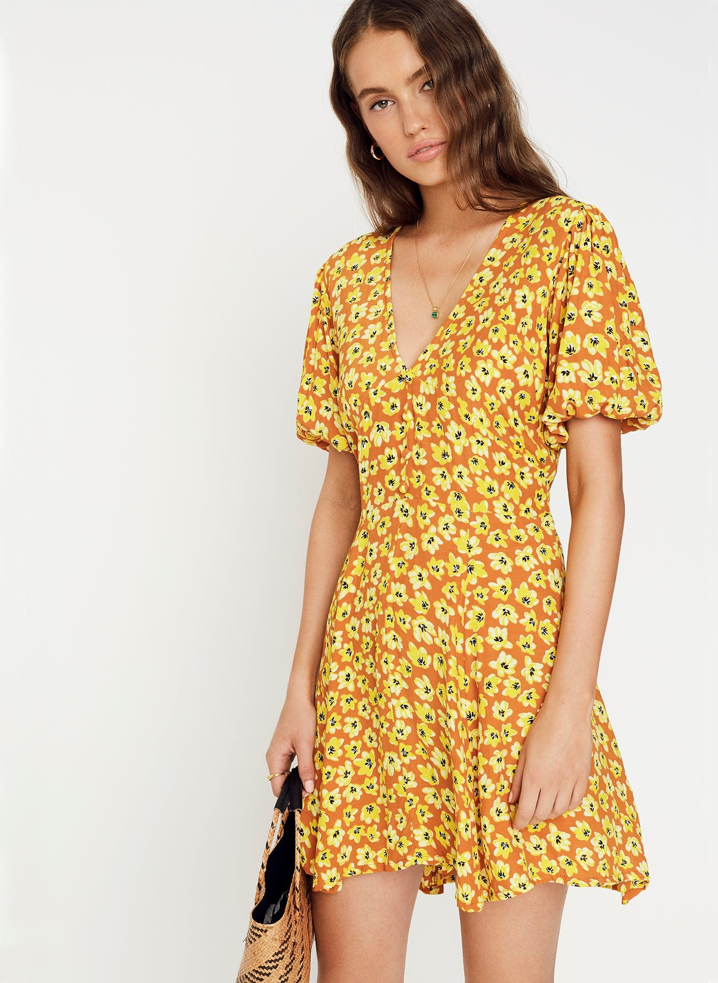 Thelma Floral Print - Saffron - Ilia Mini Dress