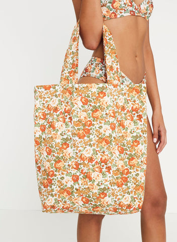 Le Rose Floral Print - Travel Tote Bag