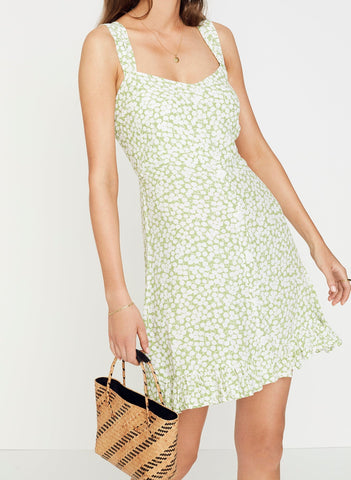 BELLA FLORAL PRINT - AVOCADO GREEN - LOU LOU MINI DRESS