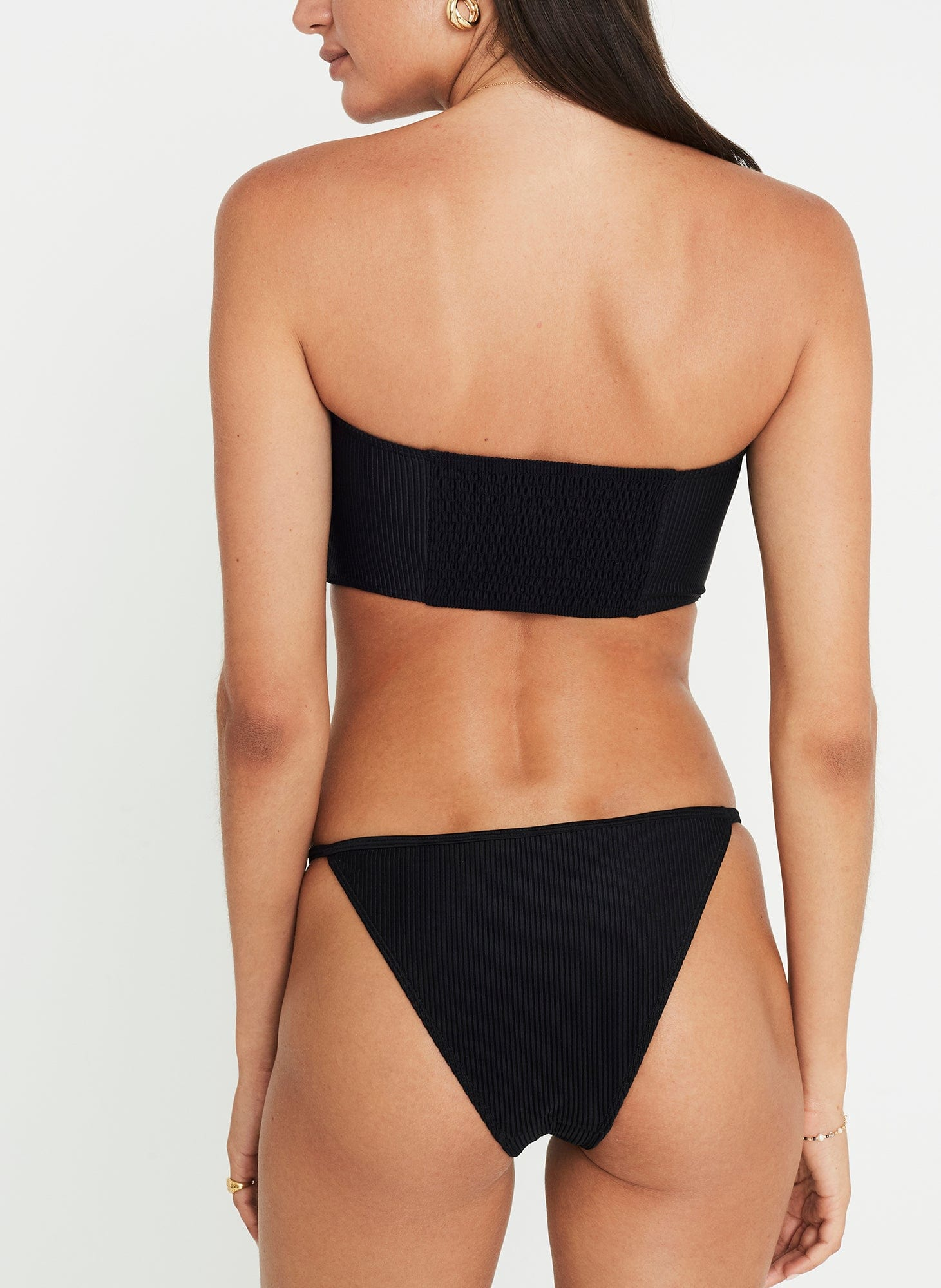 Steffy Bikini Plain Black Ribbing