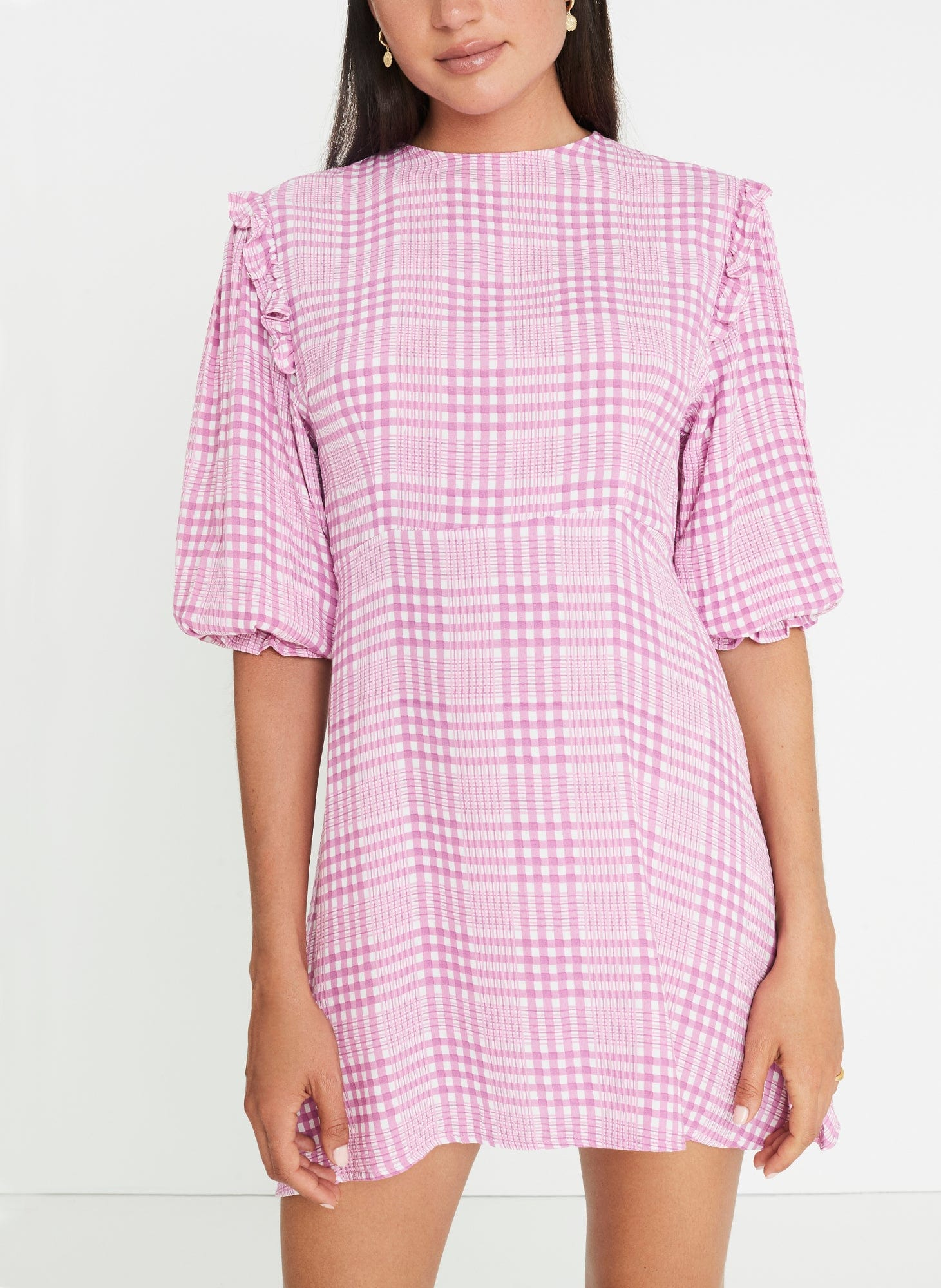 Djerra Check Print - Iris - Edwina Mini Dress