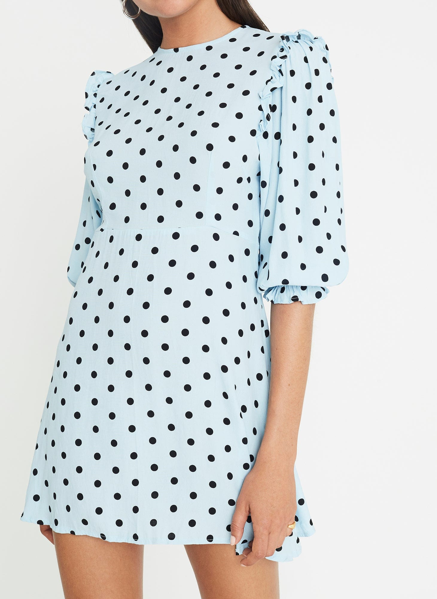 Sylve Dot Print - Blue - Edwina Mini Dress