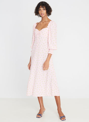 Luda Floral Print - Pink - Mathilde Midi Dress