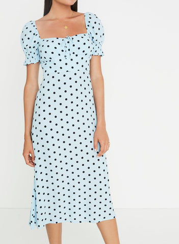 Evelyn Midi Dress Sylve Dot Blue