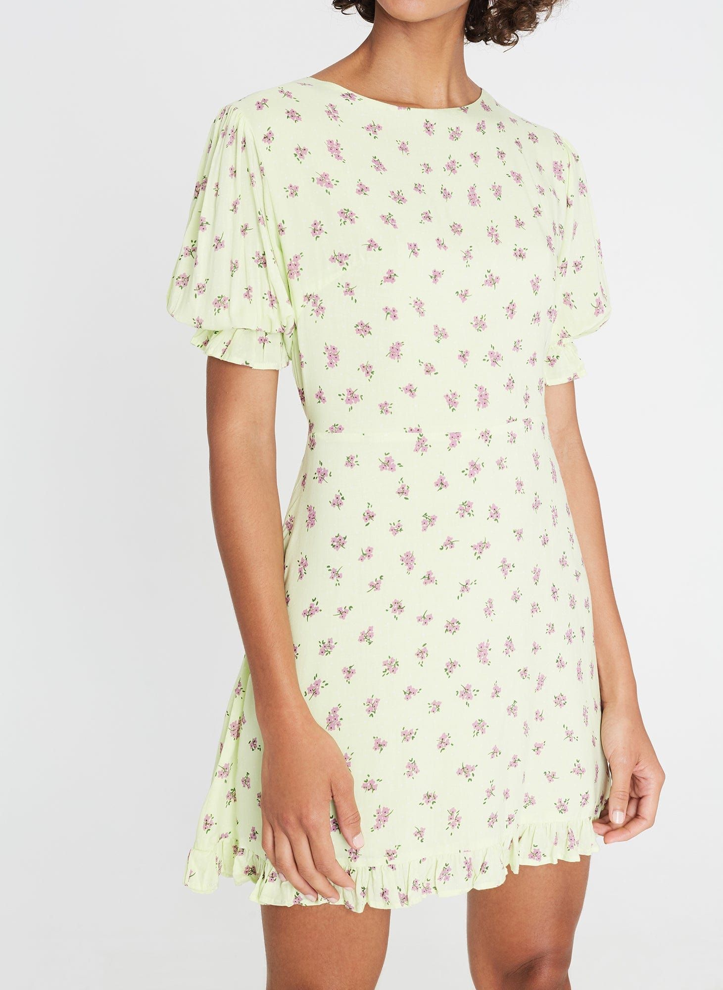 Florence Mini Dress Luda Floral Lime