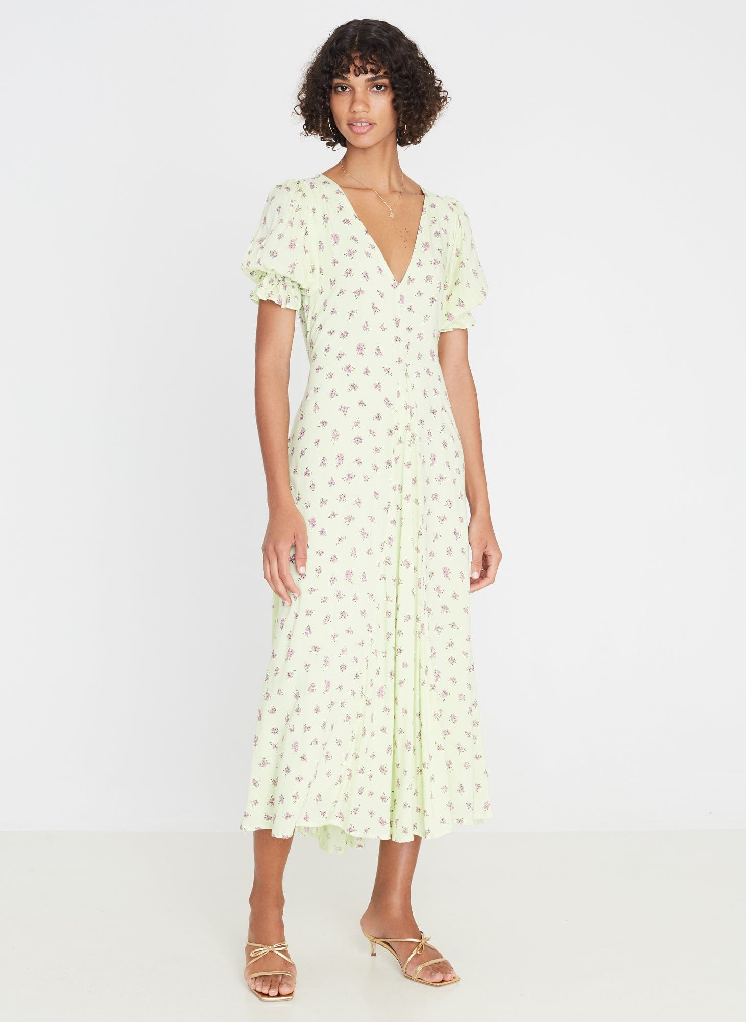 Maggie Midi Dress Luda Floral Lime