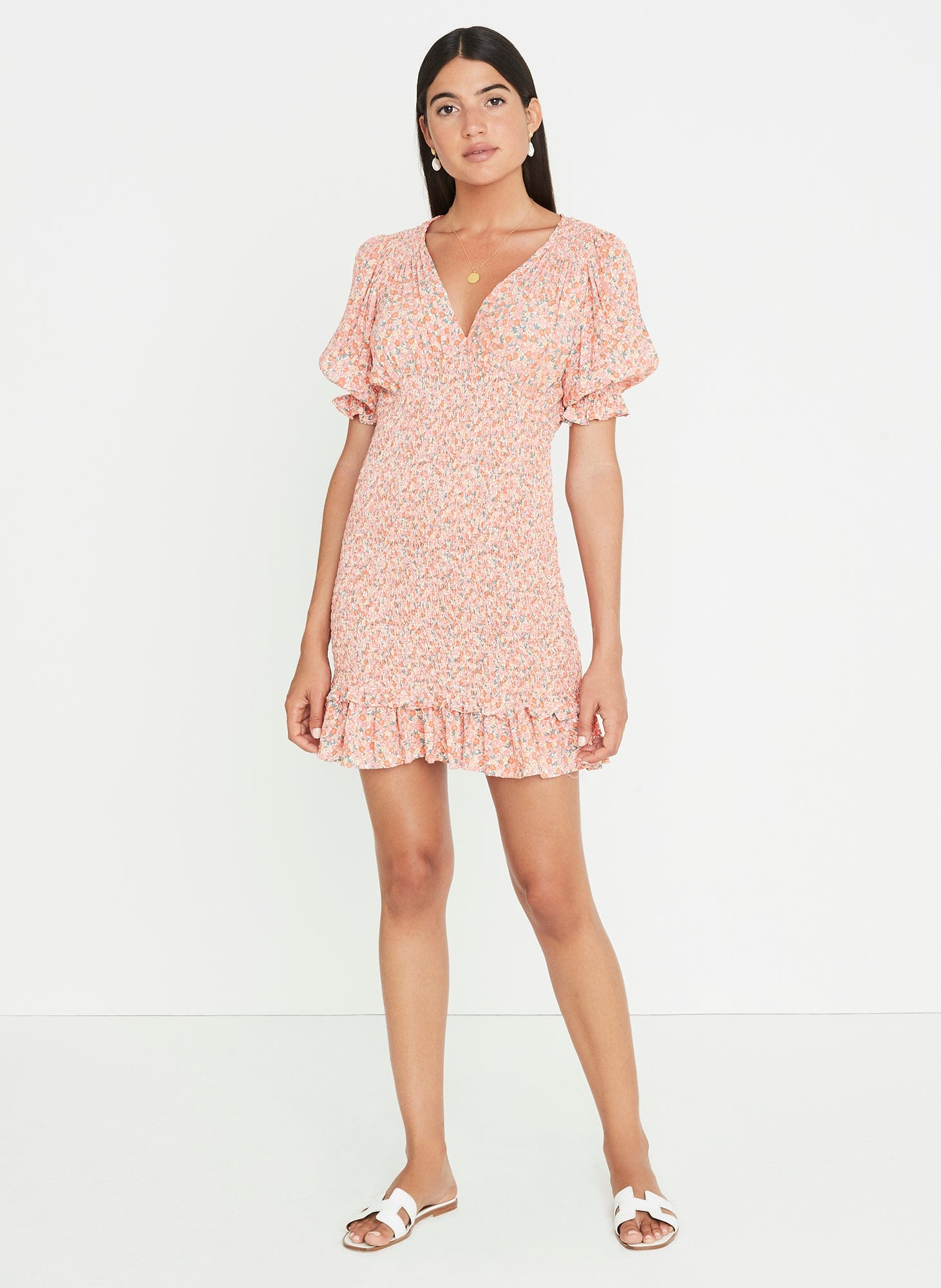 Margherita Mini Dress Mathiola Floral Pink