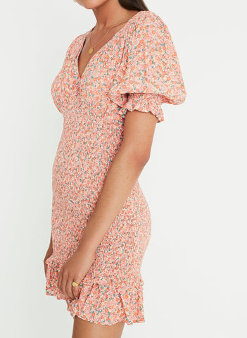 Mathiola Floral Print - Pink - Margherita Mini Dress