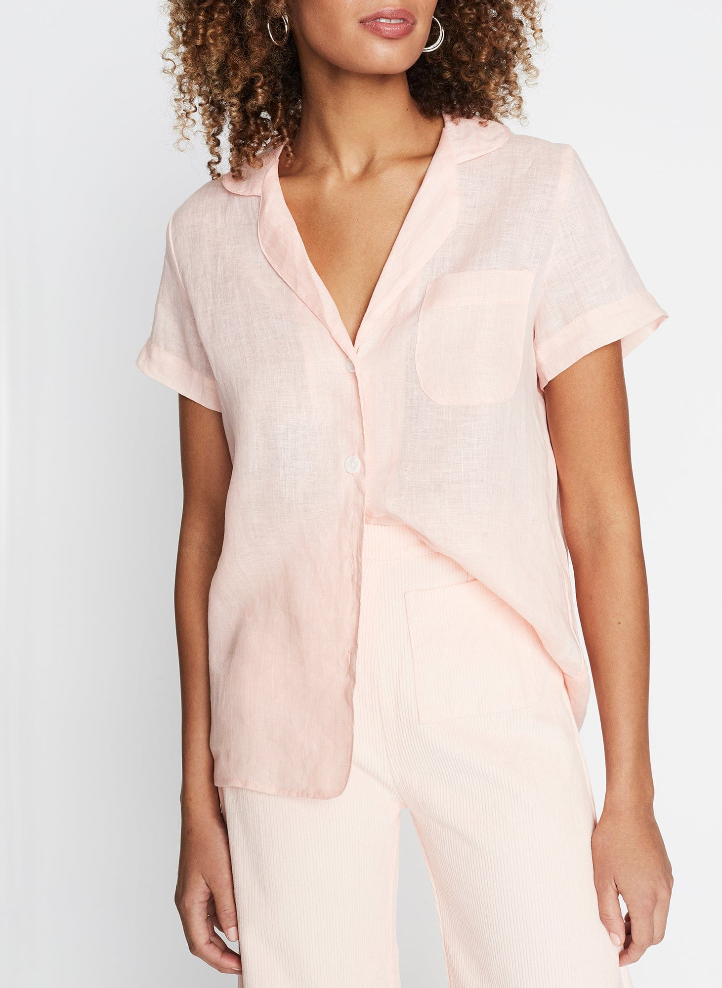Maisy Shirt Plain Pale Pink