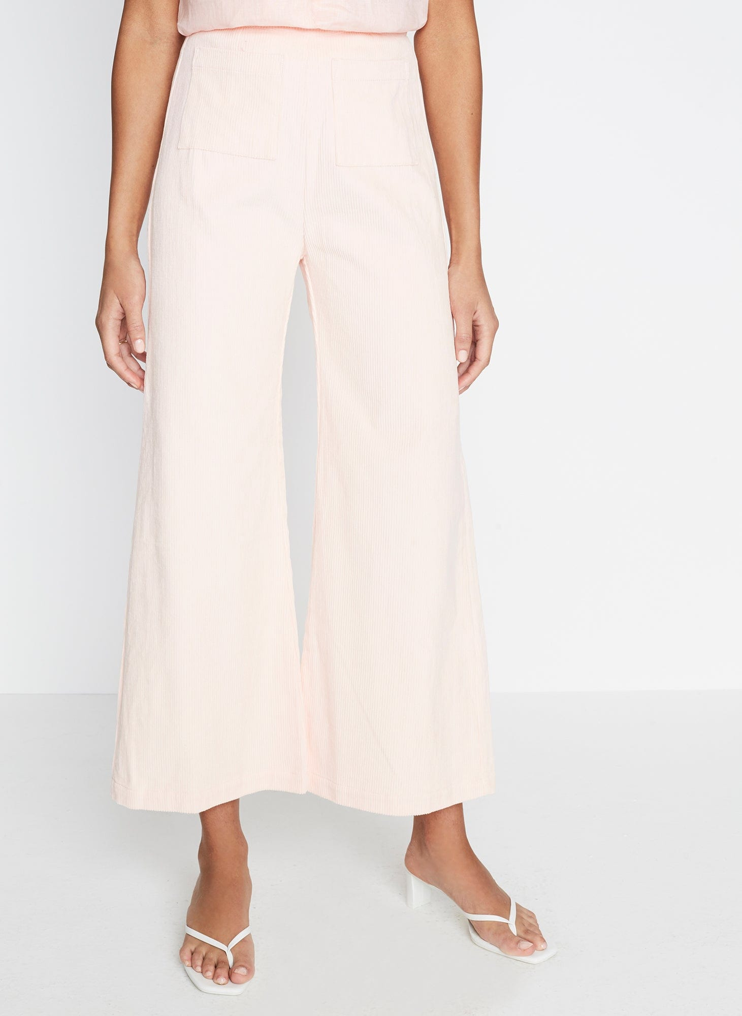 Tove Corduroy Pants Plain Pale Pink -Final Sale