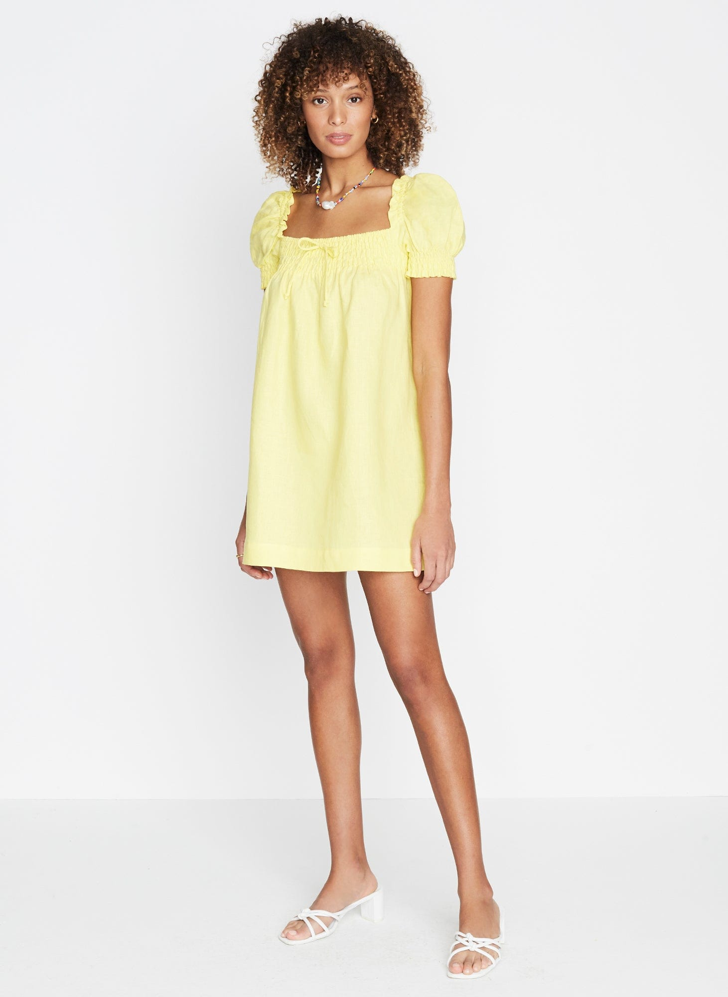 Cherie Mini Dress Plain Lemon