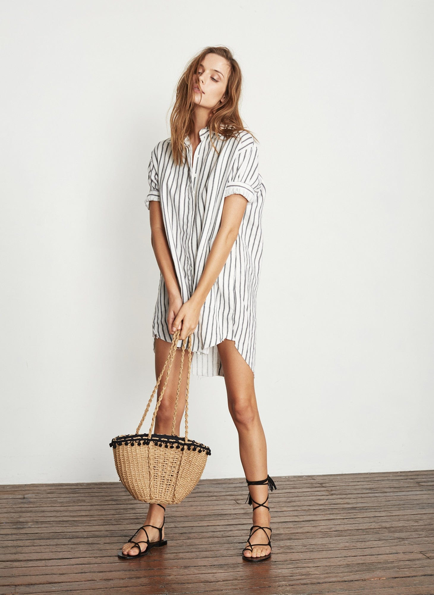 PALLAIS STRIPE PRINT - CHARCOAL - TESTONI SHIRT DRESS