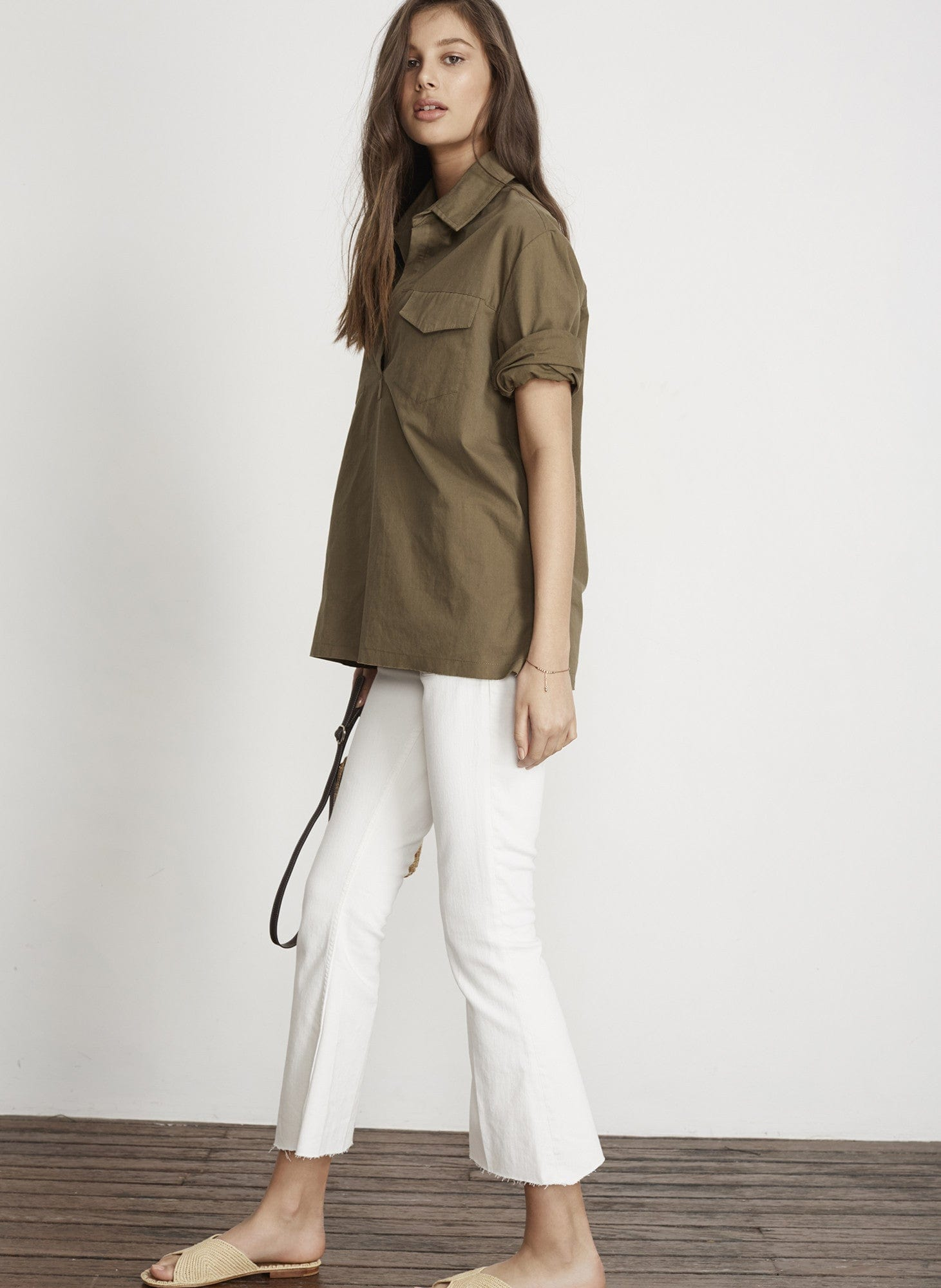 PLAIN KHAKI CANVAS - VINCE TOP - FINAL SALE