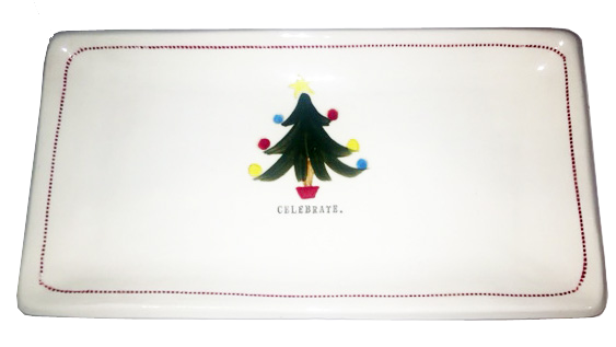 "Christmas Tree graphic -  Porcelain Platter  11.5"" x 5.5"""
