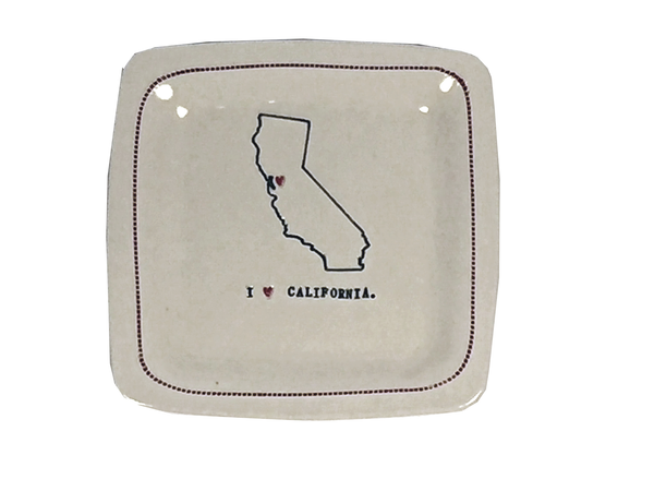 Custom - I 'heart' California - 6x6 Porcelain Dish