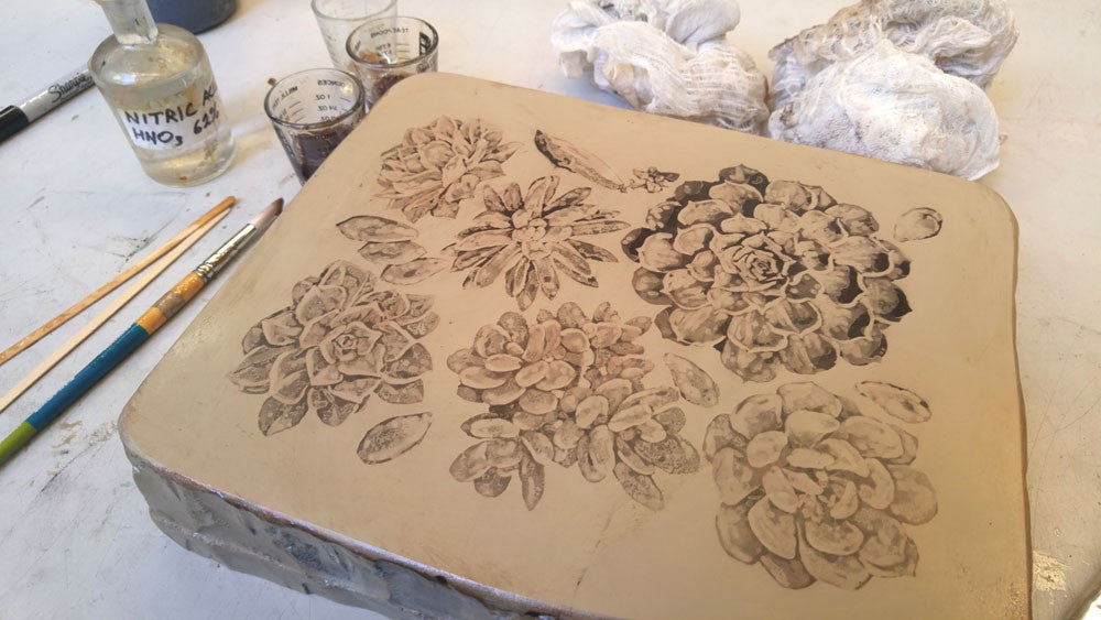 etching litho stone succulent print