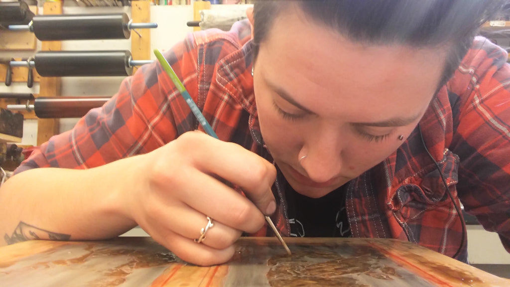 lauren drawing on litho stone
