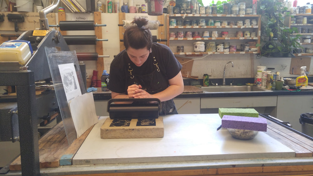 lauren inking lithographic stones