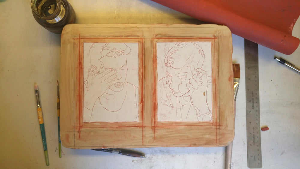 lithography drawing transfer onto stone