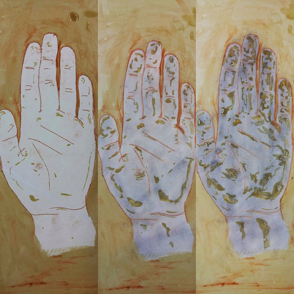 print fearless hopeful astonished white lithograph process drawing hands
