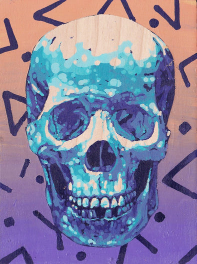 blue skull with crazy background painting