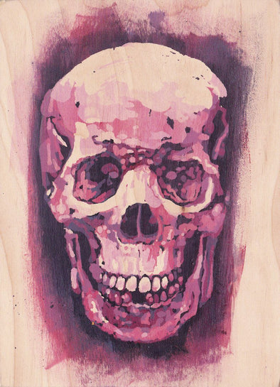 pink skull painting