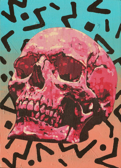 pink skull with crazy background painting