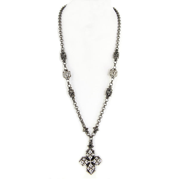 Black Chrome & Antique Silver Necklace CH4-BLK-AS SG Liquid Metal by Sergio Gutierrez. SG black velvet pouch included