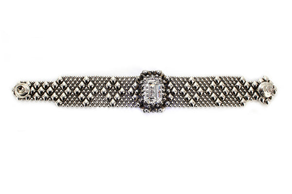 RTB12– AS (antique silver finish) Bracelet with Swarovsky Crystal