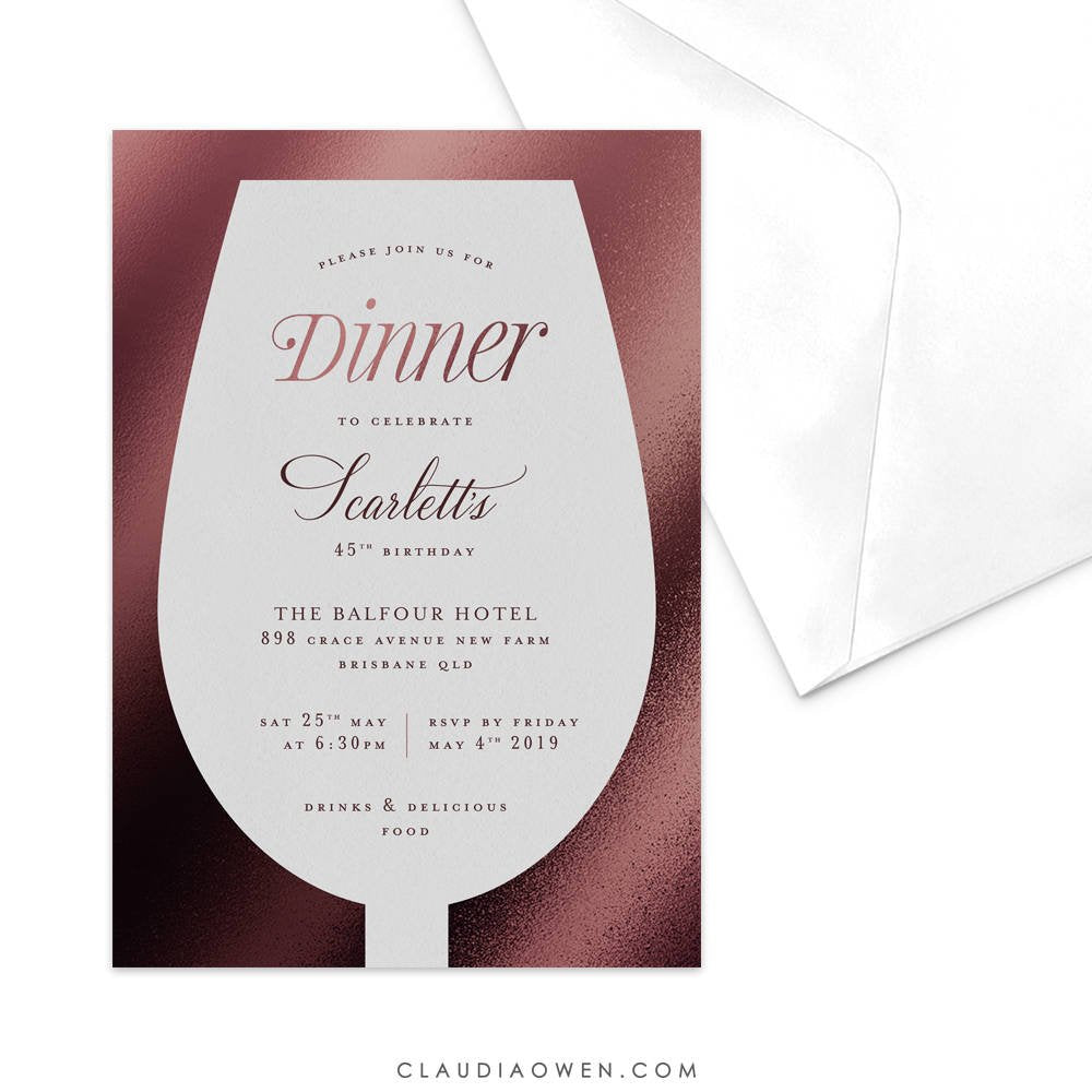 Wine Glass Wine and Dine  Party Invitation Dinner Party Red Wine Alcohol Dinner Invitation Wine Tasting Winery Tour Dinner Invites