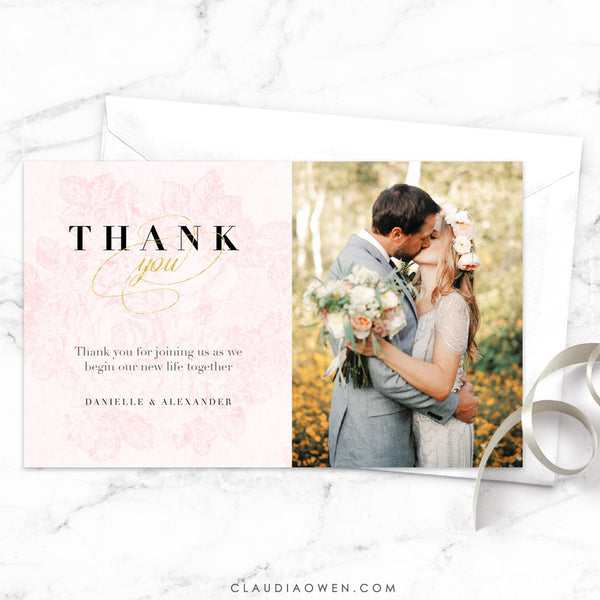 Vintage Roses Thank You Card Photo Thank You Card Romantic Florals Wedding Thank You Cards Elegant Blush Pink Flowers Vintage Florals