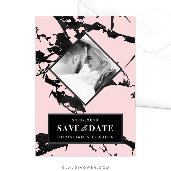 Wedding Photo Card Save the Date Cards, Black and Pink Marble Pattern Save Our Date, Modern Design Engagement Party, Wedding Announcement