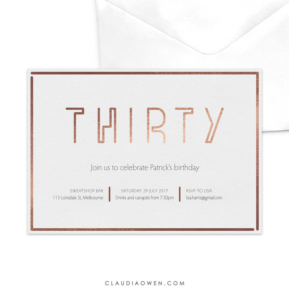 Thirtieth Birthday Invitation 30th Invitation Turning Thirty 30th Party Minimalist Design Simple Modern Typography 30th Anniversary