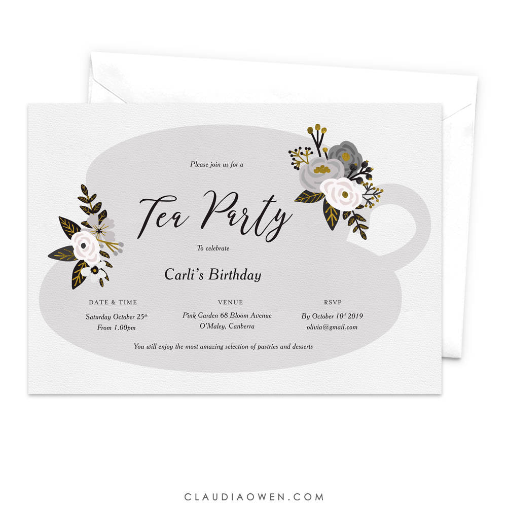 Tea Party Invitation, Floral Tea Cup, High Tea Invites, Women's Birthday Invitation, Flowers, Tea Lovers, Girly Design, Feminine, Tea Time