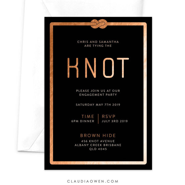 Tying The Knot Engagement Party Invitation, Modern Engagement Dinner, We Are Engaged Getting Married Tie The Knot