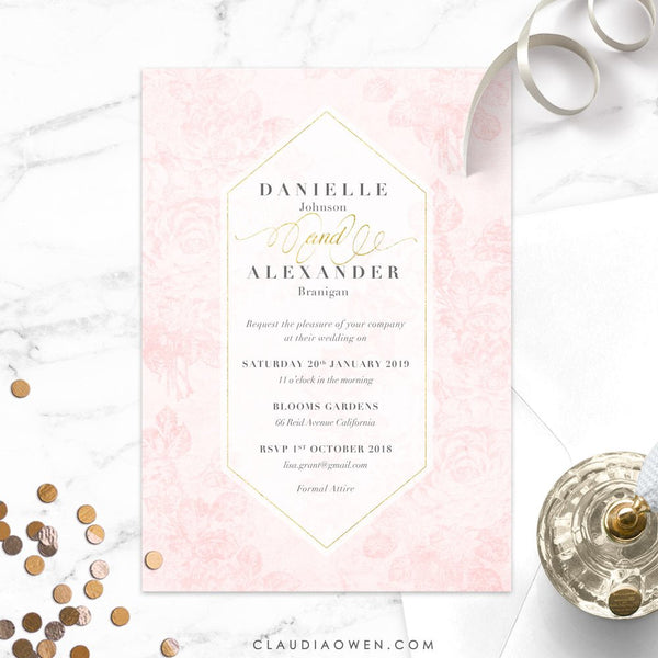 Vintage Roses Wedding Invitation Elegant Wedding Invitation Rehearsal Dinner Floral Invitation Blush Pink Flowers Rose