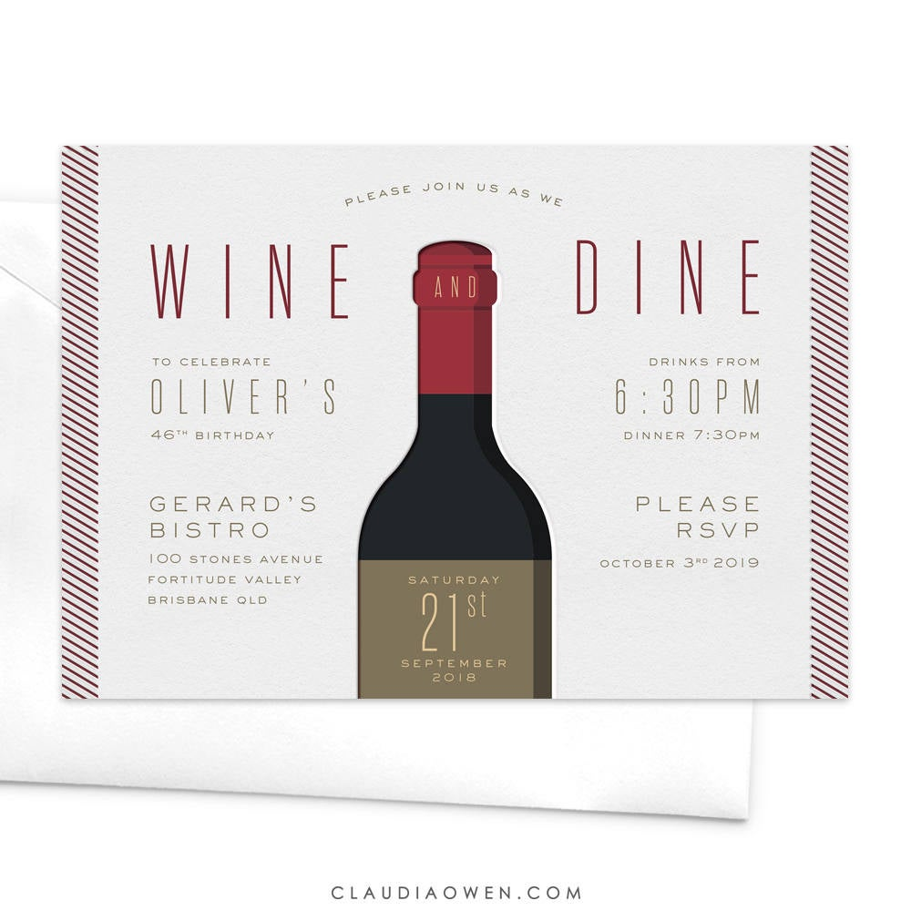 Wine and Dine Birthday Party Invitation, Wine Bachelorette Party, Wine Lover, Wine Tasting Party, Wine Theme Bridal Shower, Mens Birthday