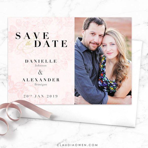Vintage Roses Save The Date Card Photo Save The Date Romantic Floral Flowers Blush Pink Photo Card Happy Couple Elegant