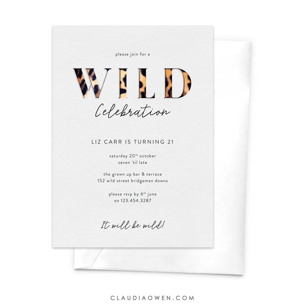 Wild Celebration Wild Party Invitation 18th Birthday 21st Birthday Girls Night Out Animal Print Leopard Print 30th Party Wild Night